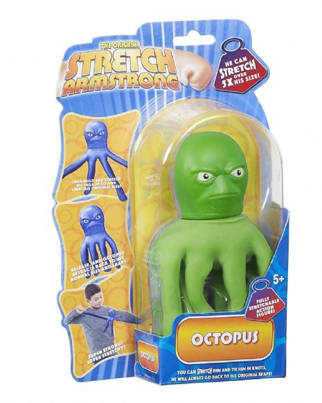 Mini Stretch Armstrong  - Green OCTOPUS  - Super Stretchy Fun - NEW